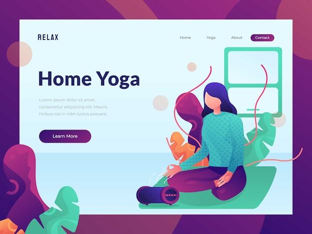 Weibliches yoga, das für webdesignlandeseiten-heldbild sich entspannt Premium Vektoren