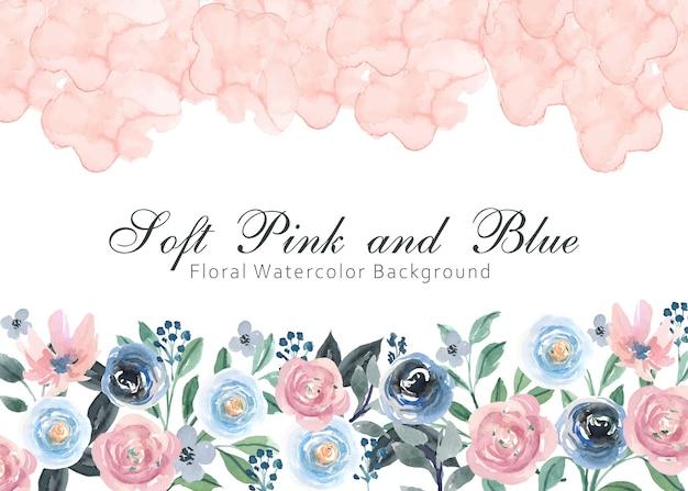 Weicher rosa und blauer blumenaquarell-hintergrund Premium Vektoren