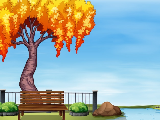 Weidenbaum am fluss Kostenlosen Vektoren