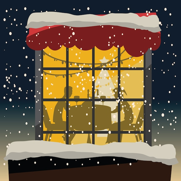 Weihnachten an der nachtvektorabbildung Premium Vektoren