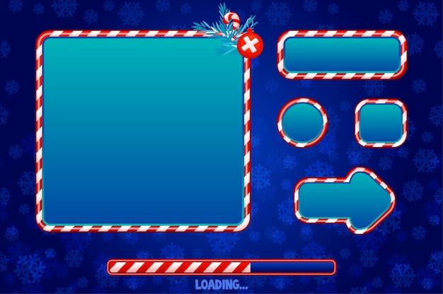 Weihnachten benutzeroberfläche und elemente für das spiel Premium Vektoren