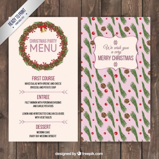 Menü Weihnachten.Weihnachten Blumen Menü Download Der Premium Vektor