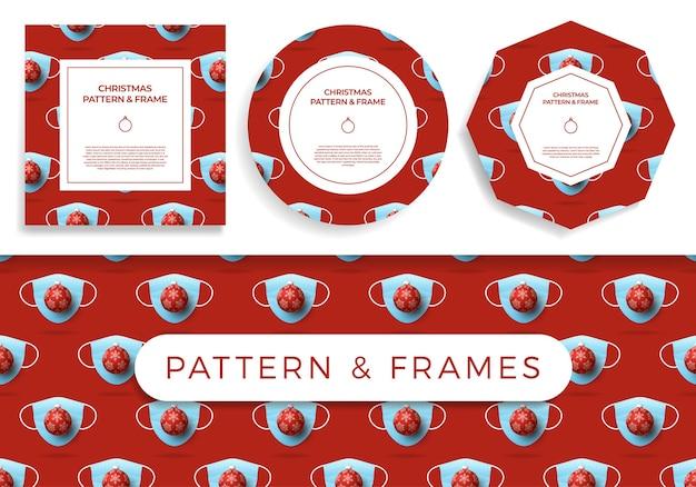 Weihnachten covid nahtlose muster- und rahmensatzillustration Premium Vektoren