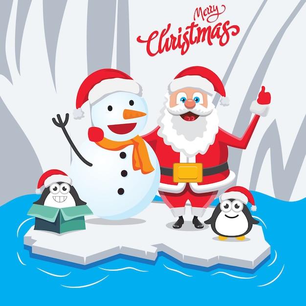 Weihnachten, das sankt im winter wünscht Premium Vektoren