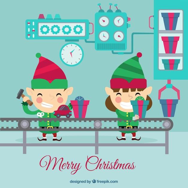 weihnachten elfen arbeiten download der kostenlosen vektor. Black Bedroom Furniture Sets. Home Design Ideas