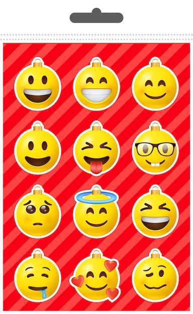 Weihnachten emoji ball aufkleber set Premium Vektoren