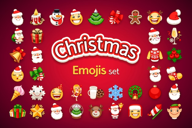 weihnachten emojis holiday set download der premium vektor. Black Bedroom Furniture Sets. Home Design Ideas