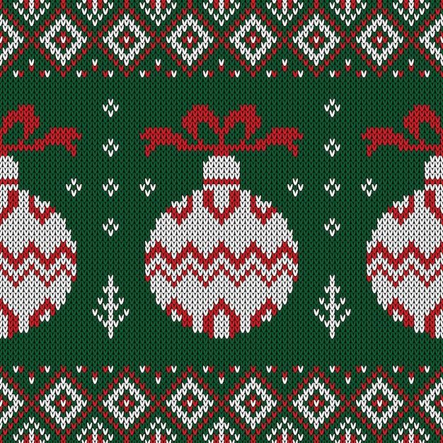 Weihnachten gestricktes muster. Premium Vektoren