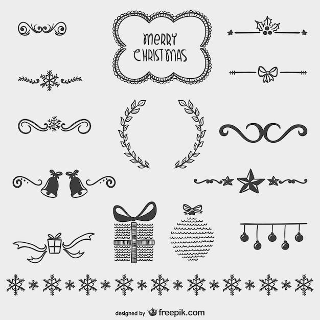 weihnachten gezeichnet ornamente packen kostenlose vektor. Black Bedroom Furniture Sets. Home Design Ideas