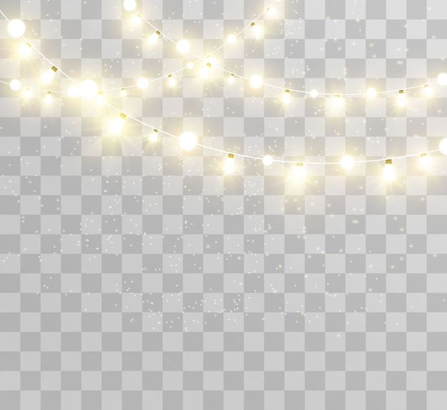 Weihnachten hell, schöne lichter, elemente. leuchtende lichter für die gestaltung von weihnachtsgrußkarten. girlanden, leichte weihnachtsdekoration. Premium Vektoren