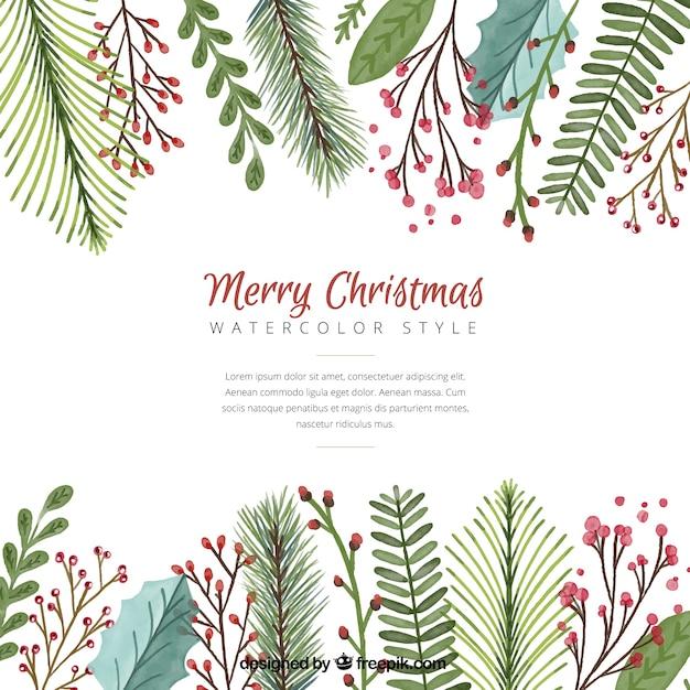 Weihnachten Hintergrund mit Aquarell Blätter Kostenlose Vektoren