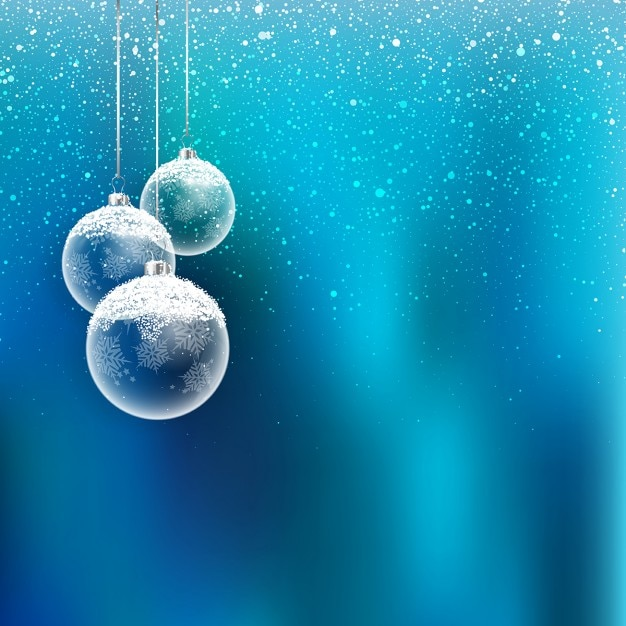 Weihnachten hintergrund mit hängenden kugeln und schneeflocken Kostenlosen Vektoren