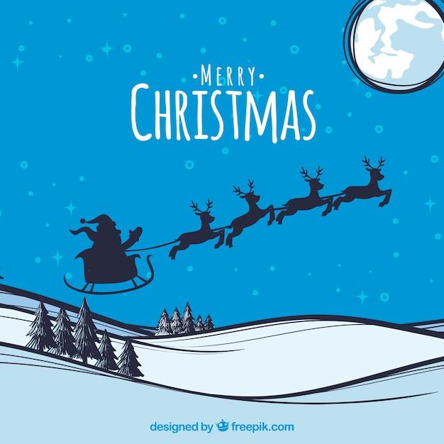 Weihnachten hintergrund mit santa claus silhouette Kostenlosen Vektoren