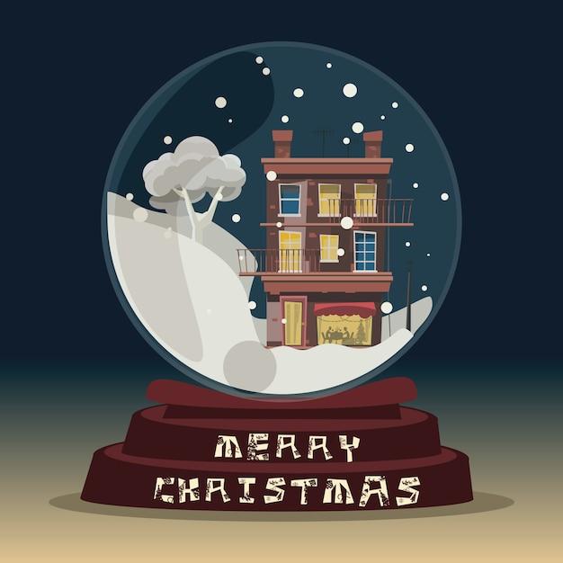 Weihnachten in der glaskugel für dekorationsvektorillustration Premium Vektoren