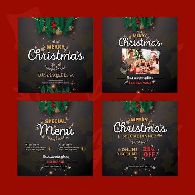 Weihnachten instagram posts pack Kostenlosen Vektoren