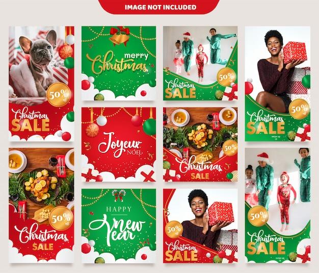 Weihnachten instagram stories feed post template Premium Vektoren