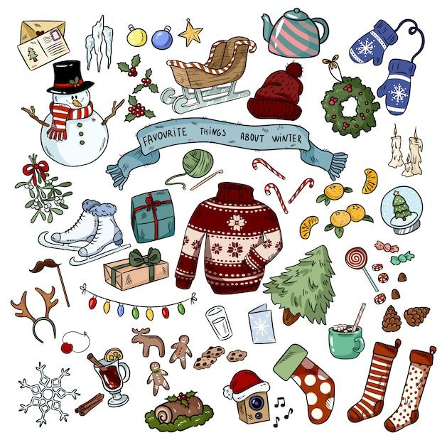 Weihnachten kritzelt aufkleberobjekte Premium Vektoren