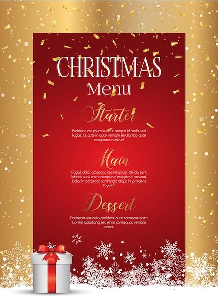 Weihnachten mit einem eleganten menüdesign Kostenlosen Vektoren