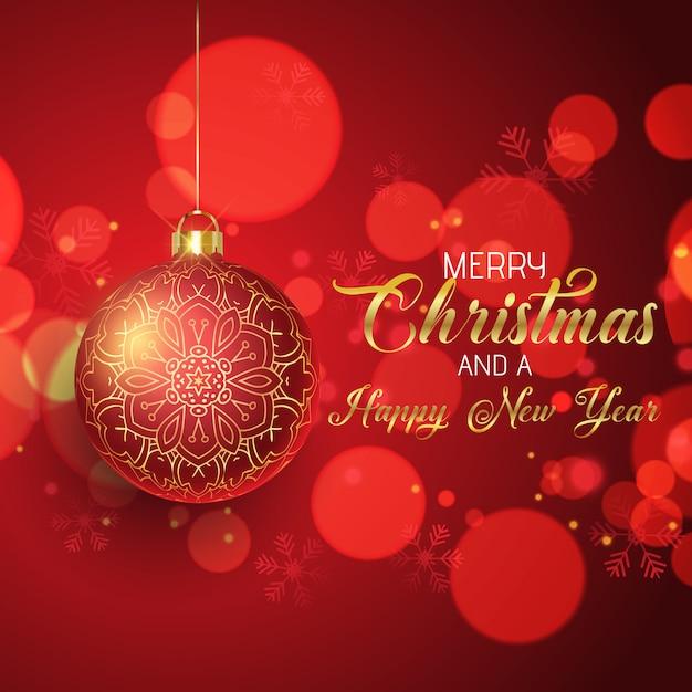 Weihnachten mit hängender kugel Kostenlosen Vektoren