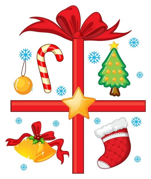 Weihnachten mit ornamenten und geschenk Kostenlosen Vektoren