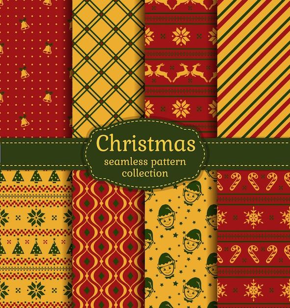 Weihnachten nahtlose muster. einstellen. Premium Vektoren