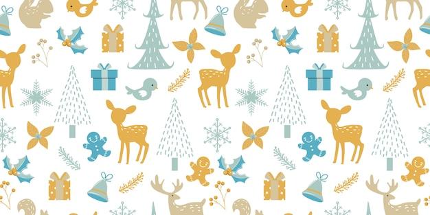 Weihnachten nahtlose muster für die dekoration Premium Vektoren