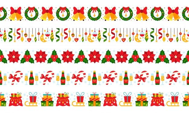 Weihnachten, neujahr grenzen Premium Vektoren