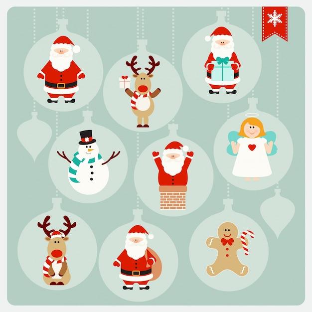 Comic Bilder Weihnachten Kostenlos.Weihnachten Niedlichen Comic Figuren Sammlung Download Der Premium