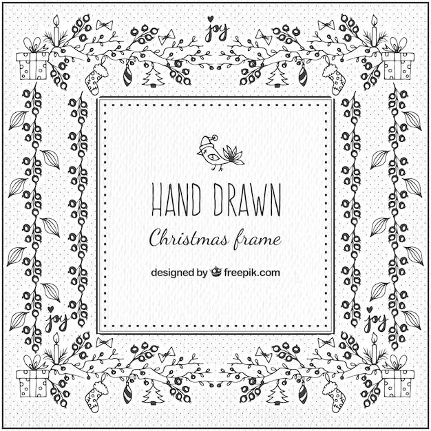 weihnachten rahmen mit floralen ornamenten hand gezeichnet. Black Bedroom Furniture Sets. Home Design Ideas