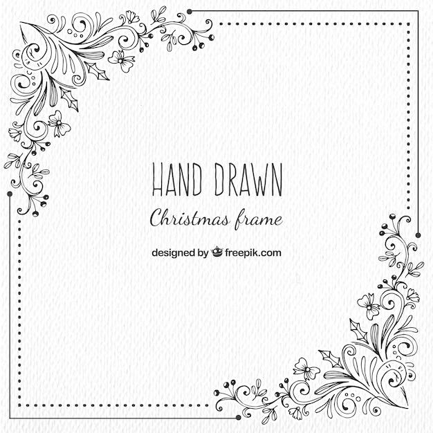 Weihnachten Rahmen Mit Handgezeichneten Blumen Details Download