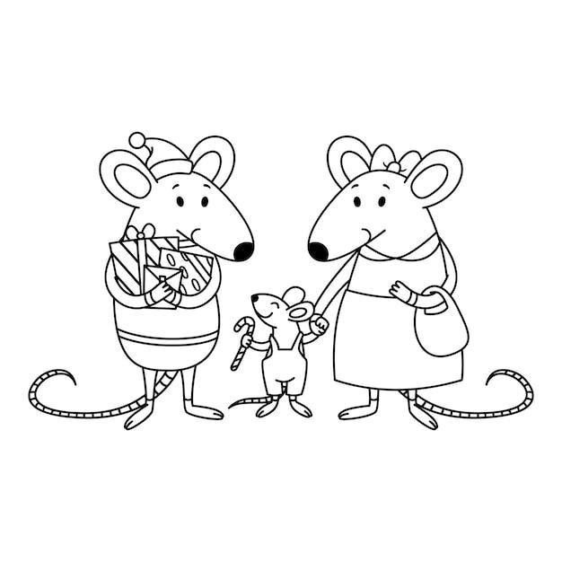 Weihnachten rattenfamilie. vater mit geschenken, mutter hält ein kind an der hand, einen kleinen jungen mit zuckerstange. frohes neues jahr mäuse. Premium Vektoren