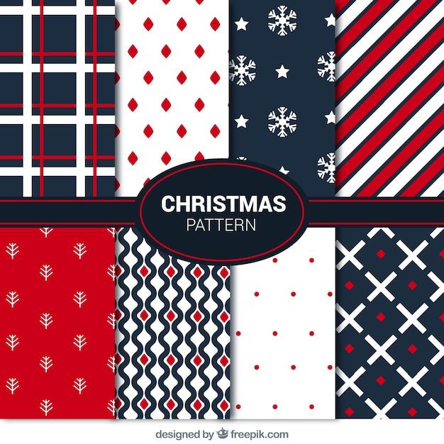 Weihnachten sammlung von modernen abstrakten mustern Premium Vektoren