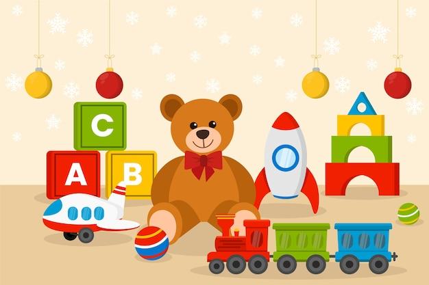 Weihnachten spielt hintergrund im flachen design Kostenlosen Vektoren