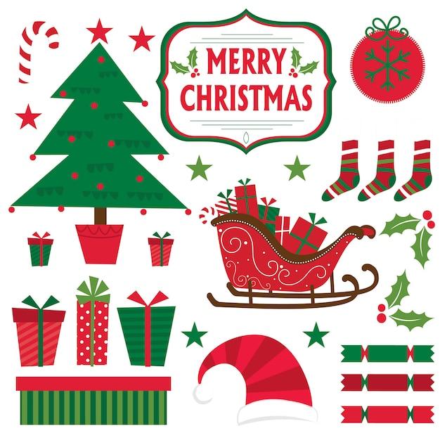 Weihnachten stellte mit weihnachtsbaum, geschenk, pferdeschlitten, stern ein Premium Vektoren