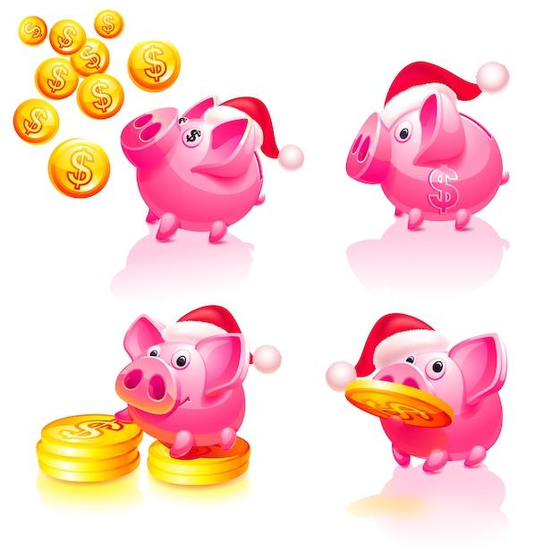 Weihnachten u. guten rutsch ins neue jahr-sparschwein mit münzen Premium Vektoren