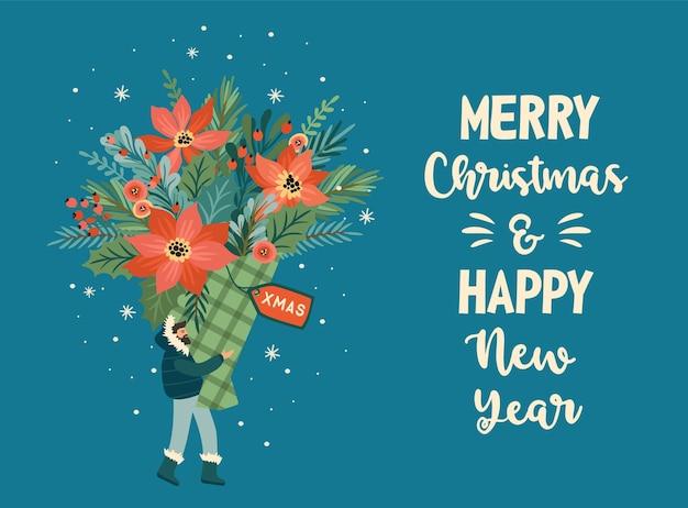 Weihnachten und ein frohes neues jahr illustration des weihnachtsstraußes Premium Vektoren