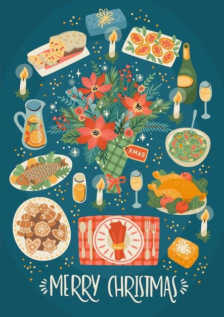 Weihnachten und frohes neues jahr illustration der weihnachtstabelle. festliches essen. trendiger retro-stil. Premium Vektoren