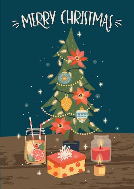 Weihnachten und frohes neues jahr illustration des weihnachtsbaumes. trendiger retro-stil. Premium Vektoren