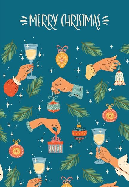 Weihnachten und frohes neues jahr illustration mit männlichen und weiblichen händen. Premium Vektoren