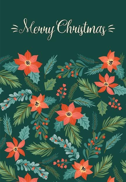 Weihnachten und frohes neues jahr illustration mit weihnachtsbaum und blumen. trendiger retro-stil. Premium Vektoren