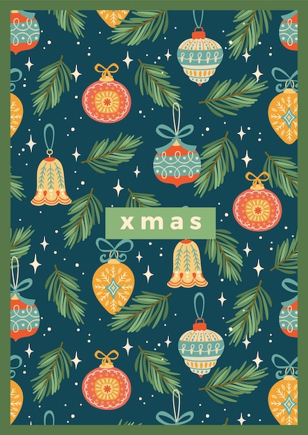 Weihnachten und frohes neues jahr illustration mit weihnachtsdekorationen. Premium Vektoren