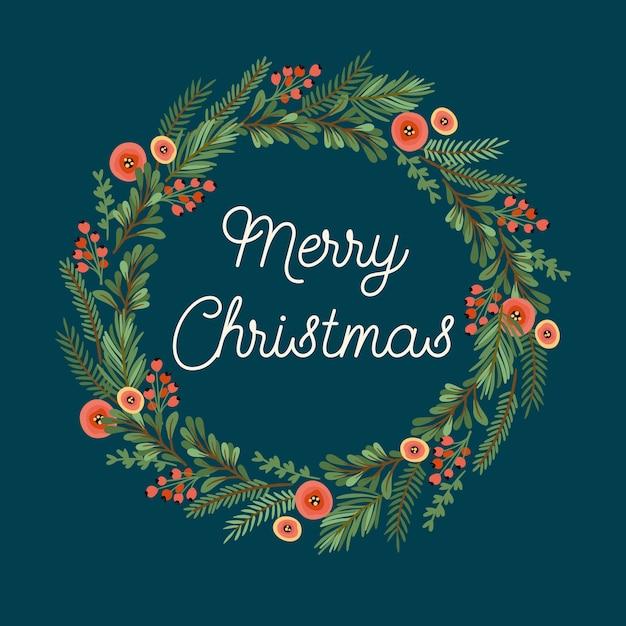 Weihnachten und frohes neues jahr illustration mit weihnachtskranz. Premium Vektoren