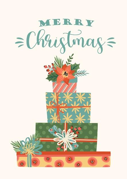 Weihnachten und frohes neues jahr illustration von weihnachtsgeschenken. trendiger retro-stil. Kostenlosen Vektoren
