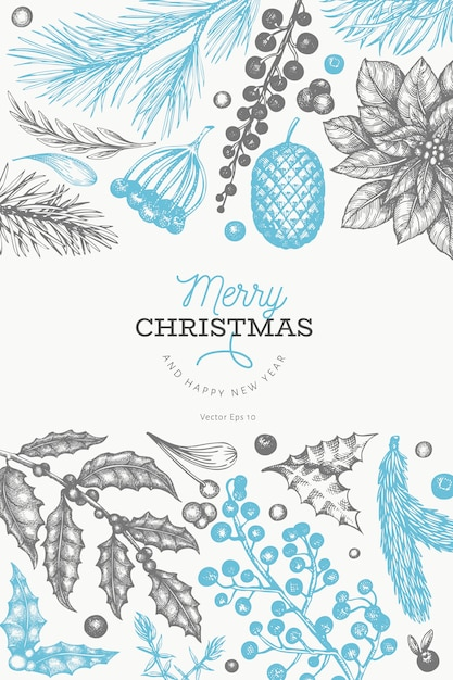 Weihnachten und neujahr elemente hand gezeichnet Premium Vektoren