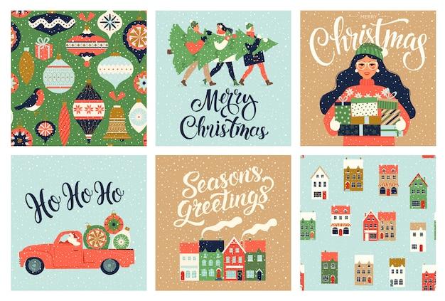 Weihnachten und neujahr template set für gruß scrapbooking, glückwünsche, einladungen, tags, aufkleber, postkarten. weihnachtsplakate eingestellt. illustration. Premium Vektoren