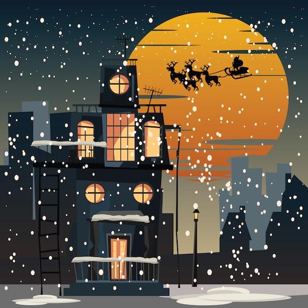 Weihnachten und santa claus in der stadt an der nachtvektorillustration Premium Vektoren
