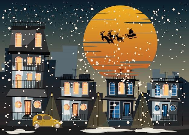 Weihnachten und santa claus in der stadtvektorillustration Premium Vektoren