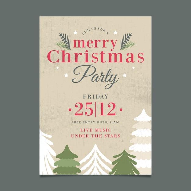 Weihnachten vintage party plakat vorlage Kostenlosen Vektoren