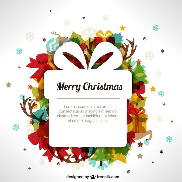 Weihnachten-Vorlage mit Geschenk-Box | Download der kostenlosen Vektor