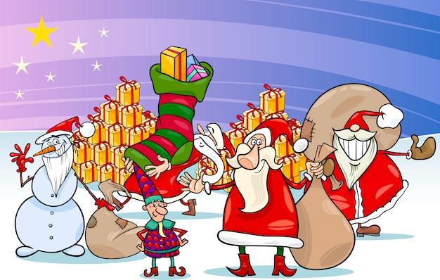 Weihnachten weihnachtsmann cartoon-gruppe Premium Vektoren